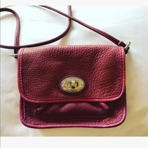 Fossil leather mini bag in purple